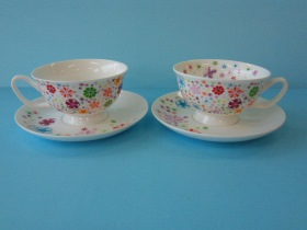 2客浪漫花茶杯組