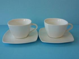 四方咖啡杯/白