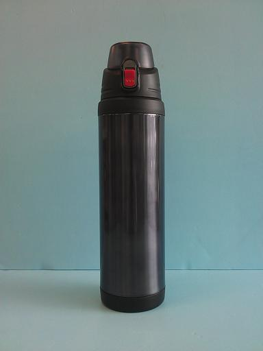 彈蓋式保溫瓶1100ml 附杯袋(黑)