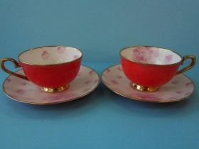 紅釉骨瓷花茶杯(粉玫)