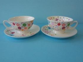 2客浪漫花茶杯組-咖啡專業器材-咖啡杯系列