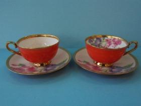 紅釉骨瓷花茶杯(桔梗)